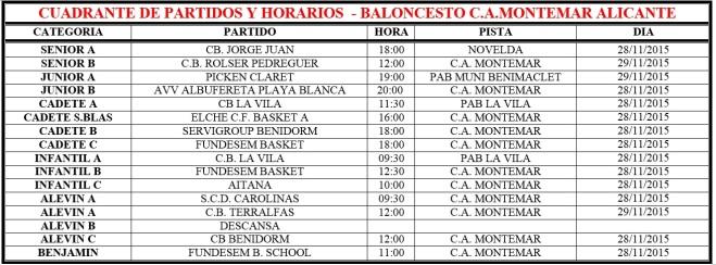 Cuadrante de Partidos - C.A.Montemar Alicante