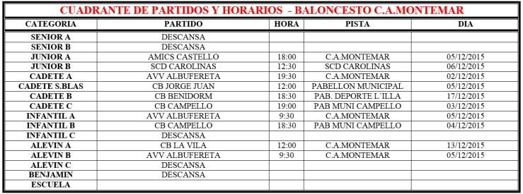 Cuadrante Partidos Fin de Semana - Baloncesto C.A.Montemar Alicante