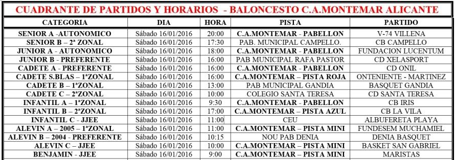 Cuadrante Partidos Baloncesto C.A.Montemar Alicante