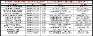 Cuadrante Partidos Baloncesto C.A. Montemar - Semana 10
