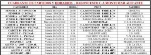 Cuadrante Partidos Baloncesto C.A. Montemar - Semana 16