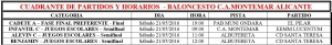 Cuadrante Partidos Baloncesto C.A. Montemar - Semana 21